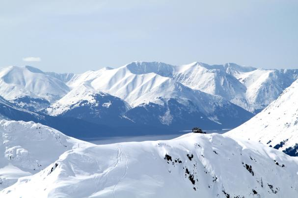 CPG snowcat skiing with a view