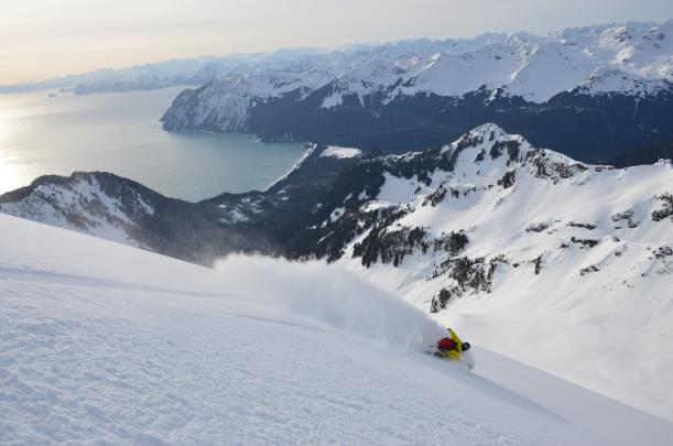 Snowboarding on the Gulf of Alaska